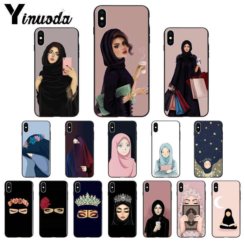 Yinuoda Muslim Islamic Gril Eyes Woman Scarf High Quality Phone Case for iPhone 8 7 6 6S Plus 5 5S SE XR X XS MAX Coque Shell