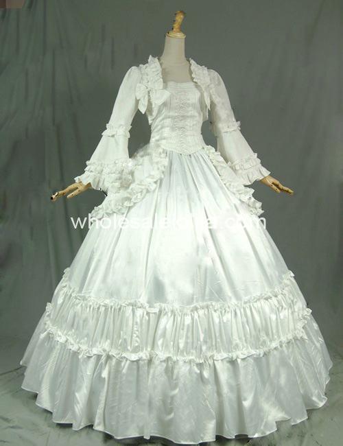 19th Century Solid White viktoriánské kuličkové šaty Reenactment Stage Costume