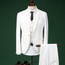 Fashion Style One Button Ivory Groom Tuxedos Groomsmen Men's Wedding Prom Suits Bridegroom (Jacket+Pants+Vest+Tie) K:970