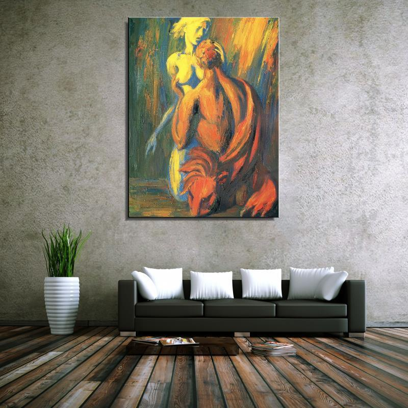 Online Shop Male Female Naked Kneel Figure Painting Abstract Spray Home Decor Canvas Oil Painting Frameless Drawing Living Room Aliexpress Mobile