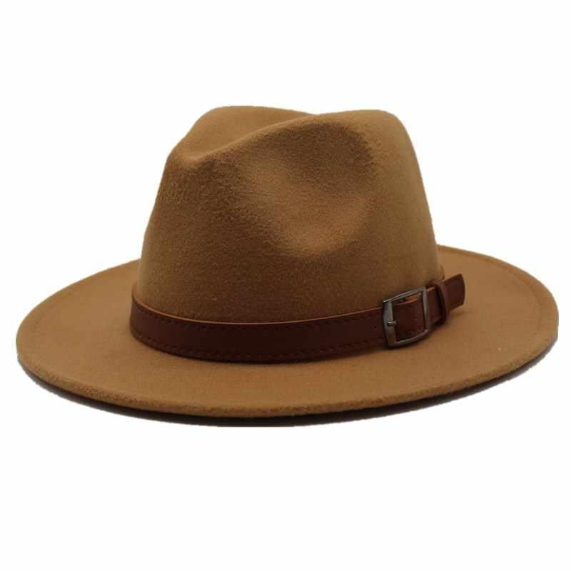 f411b52f61f181 ... Seioum Special Felt Hat Men Fedora Hats with Belt Women Vintage Trilby  Caps Wool Fedora Warm ...