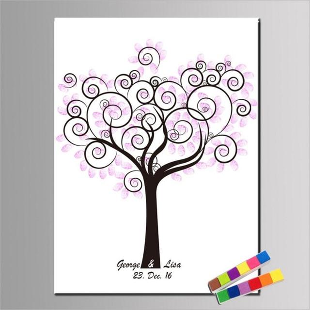 1Pc Wedding Fingerprint Tree Painting DIY Fingerprint Tree Wedding Guest  Book Baby Shower Party Decorations (With 2Pcs Inkpad)