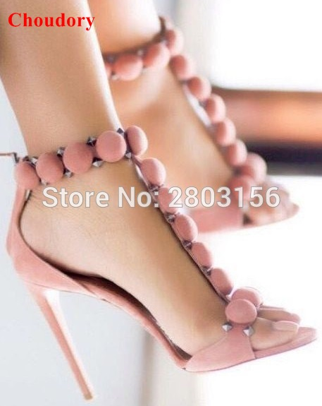 8deabf4aacc Fashion T-bar High Heels Women s Sandals Open Toe Sexy Summer Party Shoes  Ankle Strap Studded Stiletto Heel Sandals