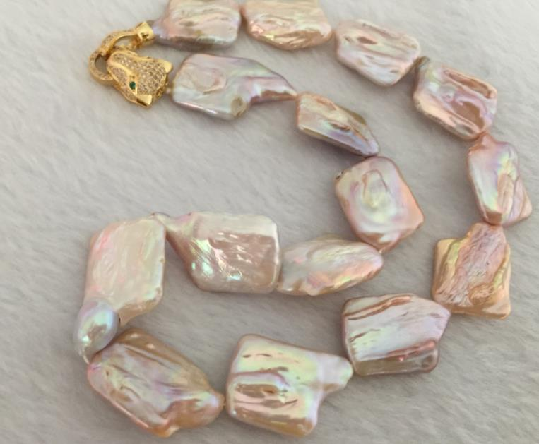 huge15-17mm south sea baroque gold pink pearl necklace 18inch