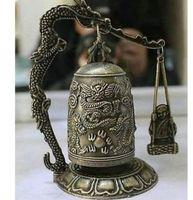 Escultura de bronze chinês dragão budismo orar sino>