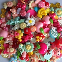 50Pcs Mixed color Flat Back Resin Buttons children s diy hair accessories handmade Phone shell decorative
