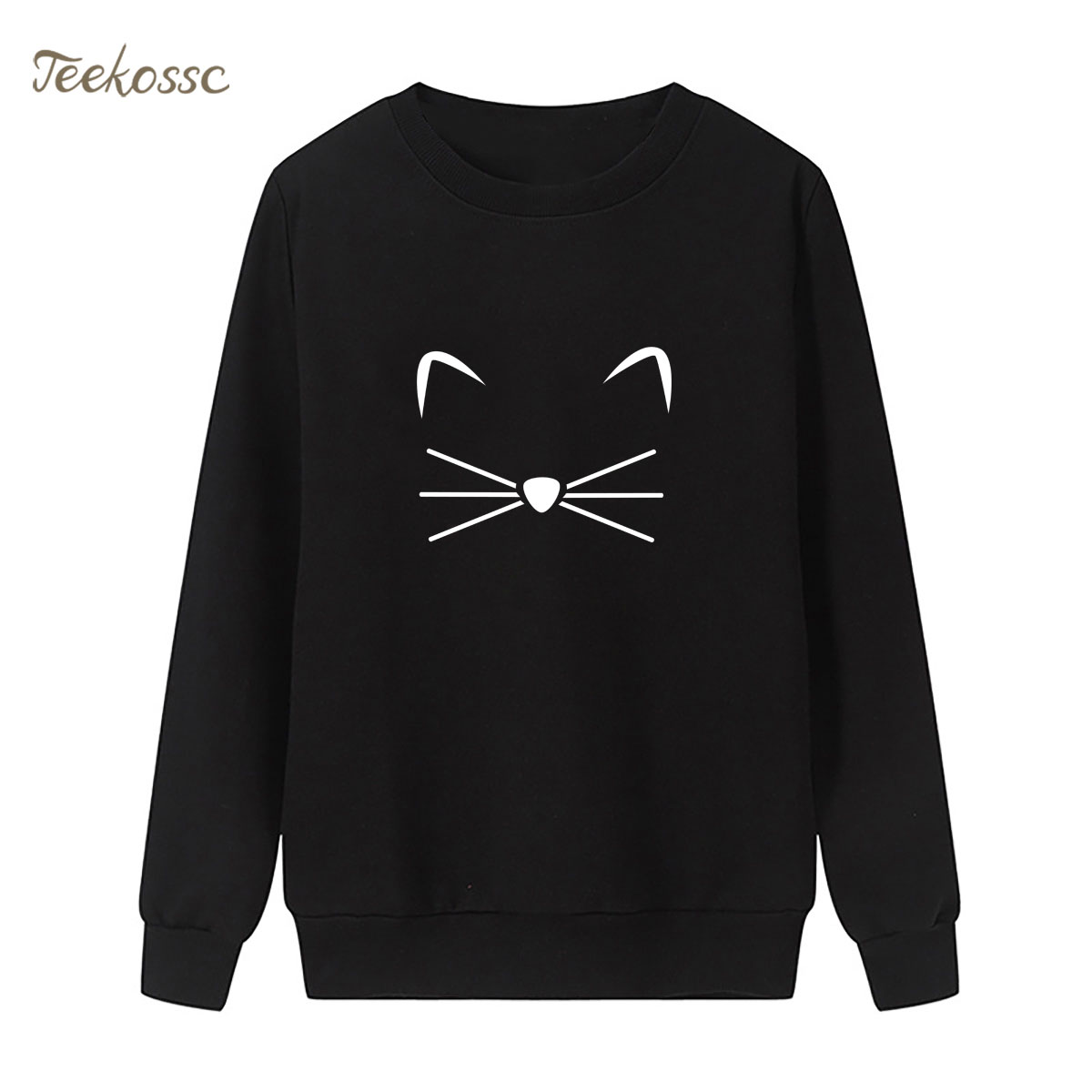 Cat Face Beard Sweatshirt Cute Print Hoodie Winter Autumn Women Lasdies Pullover Loose Fleece Streetwear New Fashion Sportswear