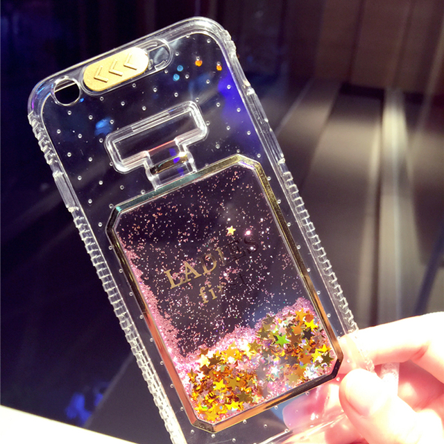 LED Flash Incoming Call Light up Clear Cover Japan Korean Fashion Star  Quicksand Perfume Bottle Case b9f3938fad5a