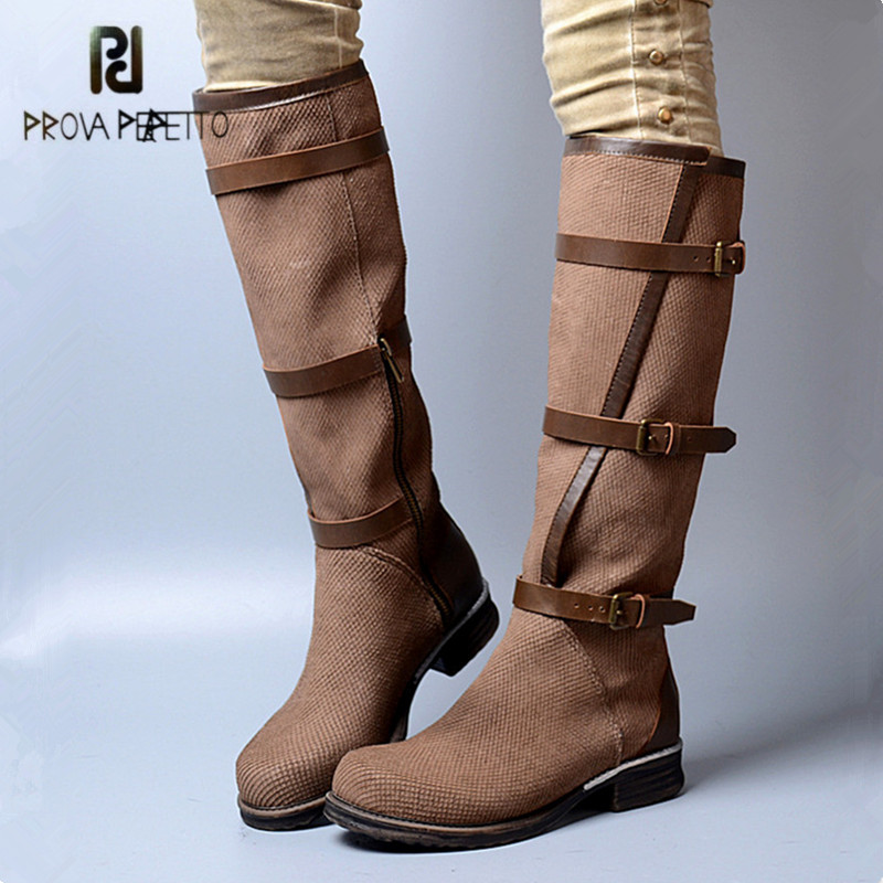 Prova Perfetto Straps Genuine Leather Women Knee High Boots Fashion Martin Boots Flat Shoes Woman Platform High Botas Militares prova perfetto black handmade women genuine leather mid calf boots buckle straps martin boots women platform rubber shoes woman