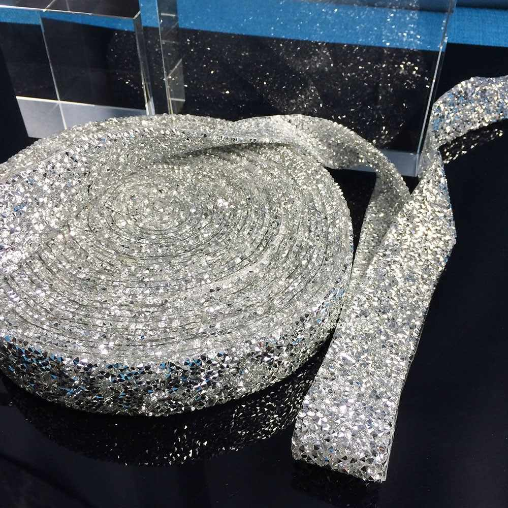 Vele kleuren strass banding, kristal zilveren steentjes trim banding, 1 yard/lot, breedte 3 cm, riem rhinestones trimmen DIY ketting