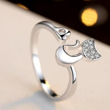 Personalized Engrave adjustable ring female 100% solid 925 silver ring finger ring animal ring cat for girl gift