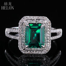 HELON New ! 1.63ct Emerald 8x6mm Cushion Shape Pave Diamond Vintage Engagement Wedding Ring 10K White Gold For Women's Jewelry