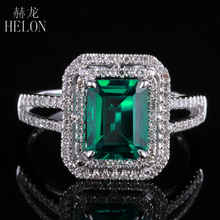 HELON New ! Emerald 5x7mm Cushion Shape Pave Diamond Vintage Engagement Wedding Ring 10K White Gold For Women's Jewelry - DISCOUNT ITEM  13% OFF All Category