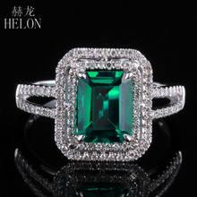 07f6be105a6d HELÓN Nuevo! esmeralda 5x7mm Forma de Cojín Pave Diamond Anillo de  Compromiso de la Boda de La Vendimia 10 K de Oro Blanco Para .