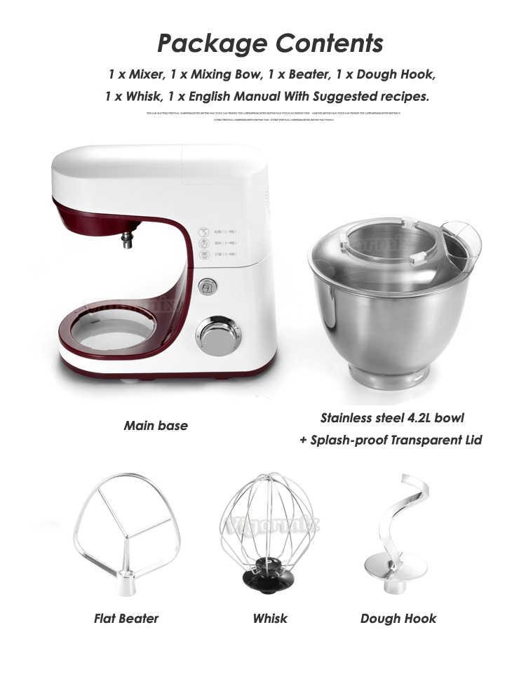 4.2L 6-speed Cozinha Alimentos Batedeira Elétrica Batedor de Massa Creme Liquidificador Aparelho