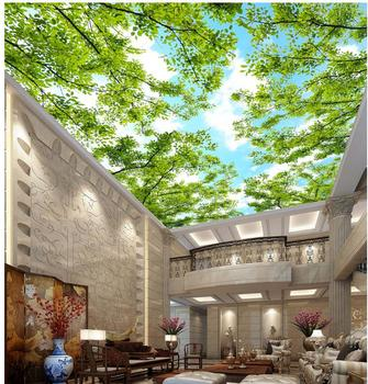 Custom photo 3d ceiling murals wallpaper Green leafy green sky painting living room 3d wall murals wallpaper for walls 3 d 3d room wallpaper custom mural non woven hd dream blue sky clouds flying pigeon ceiling murals photo wallpaper for walls 3 d