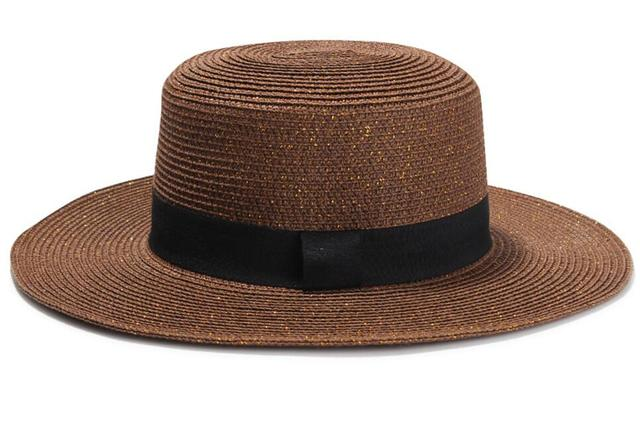 6pcs Men Black Boater Straw Hats with Gold Thread 2018 Women Summer Sun  Beach Caps NEW Wide Brim Brown Paper Braid Hat Wholesale e1dcc3832b8
