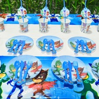 61pcs PJ Masks Party Supplies Plate Cup Tablecloth Knife Fork PJ Masks Birthday Party Decoration Shower