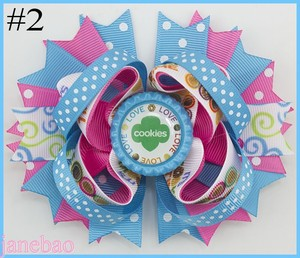 Image 2 - free shipping 12pcs Girl Scout hair bow Girl Scout hair accessories  cookies hair bow brownies daisys girls hair clips