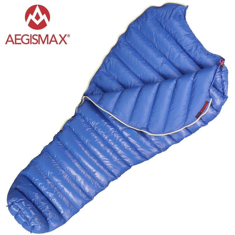 AEGISMAX M2 En Plein Air Ultra-Léger de Type Momie Blanc Duvet d'oie Camping D'hiver sac de couchage 200x86 cm 185x80 cm