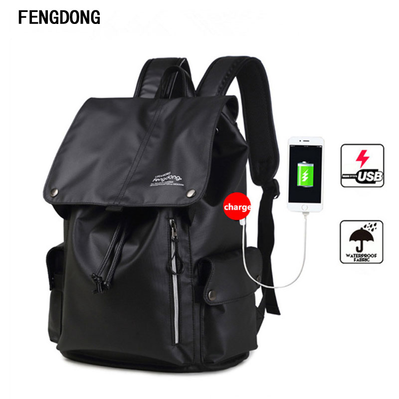 Fengdong Water Resistant School Bookbag with USB Charging Port for College Travel Backpack for 15.6-Inch Laptop and Notebook 14 15 15 6 inch flax linen laptop notebook backpack bags case school backpack for travel shopping climbing men women