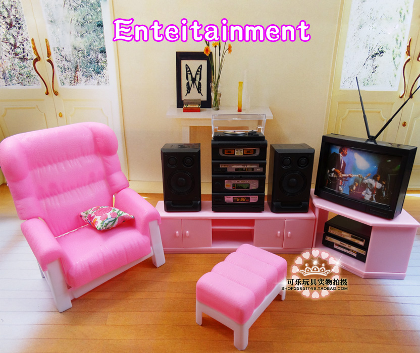 New living room With lights TV set Bookcase play set 30cm doll ...