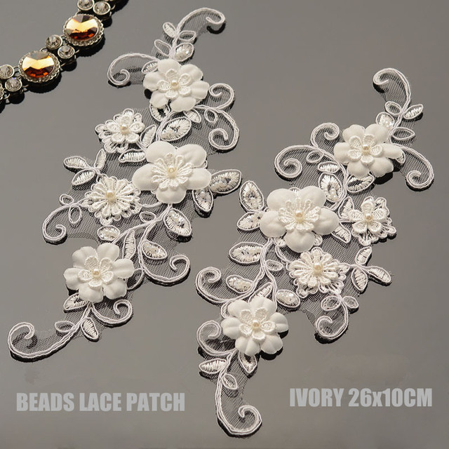 1Pc 3D Beaded Lace Applique Embroidered Flower Fabric Lace Trim For  Decorate Wedding Dress Veil Garment Accessories 26X10cm ce228df4e885