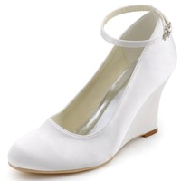 A610 Argent Femmes Chaussures Formelle De Mariée Partie Pompes Bout Rond Fermé Confortable Talon Compensé 3.5 ''Boucles Satin Chaussures De Mariage