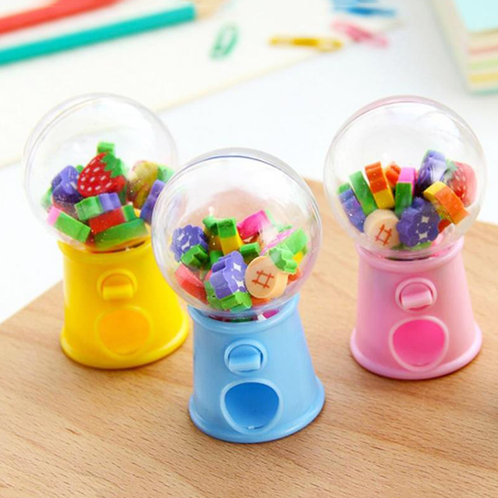 Hot Sell Children Toys Creative Cute Mini Fruit Eraser Toy Candy Machine Bubble Dispenser Kids Toy Birthday Gift