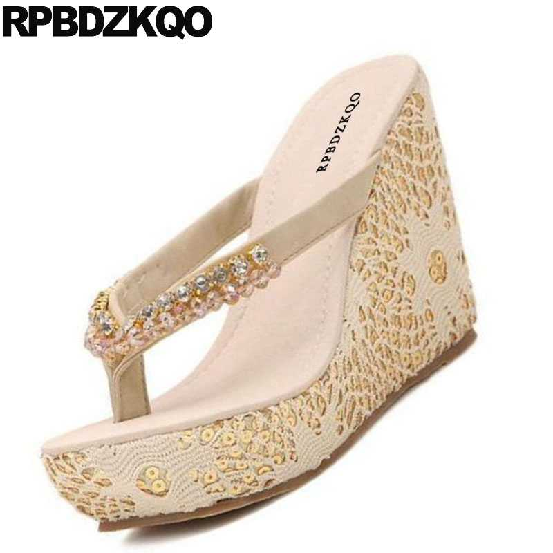 1019e0f7870d ... Shoes Rhinestone Pumps Lace Wedge Sandals High Heels Platform Designer  Slip On Diamond Cheap Women Flatform ...