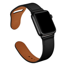 Correa de reloj de cuero genuino negro correa de reloj para Apple Watch 38mm 42mm, correa de reloj de lazo de cuero VIOTOO para iwatch 40mm 44mm