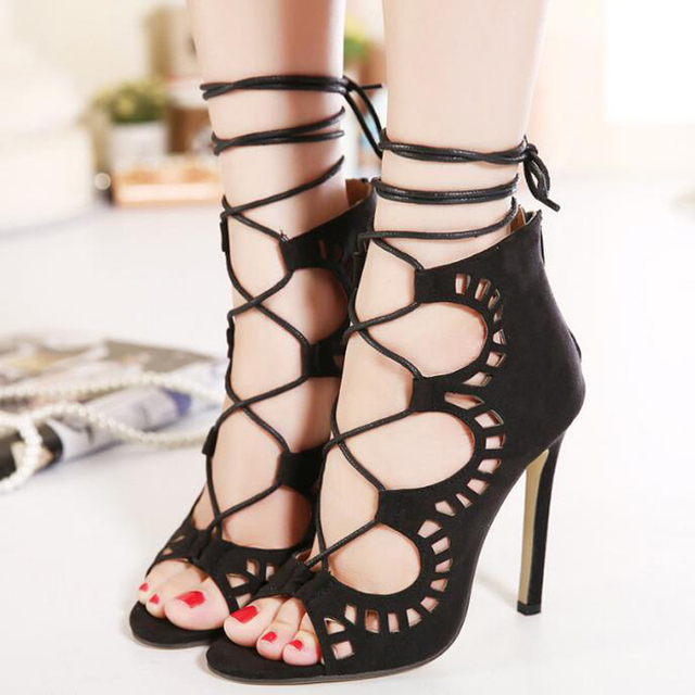 b38dc0f02 2018 Women Sandals High Quality Fashion Ankle Strap Women Shoes Sexy High  Heels Lace Up Gladiator Sandals For Women