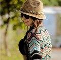 Летом Стиль Соломенная Шляпа Привлекательный Лето Осень Женская Мода Цвет Полосатый Beach Sun Hat Складная Женщины Cap Бесплатная Доставка