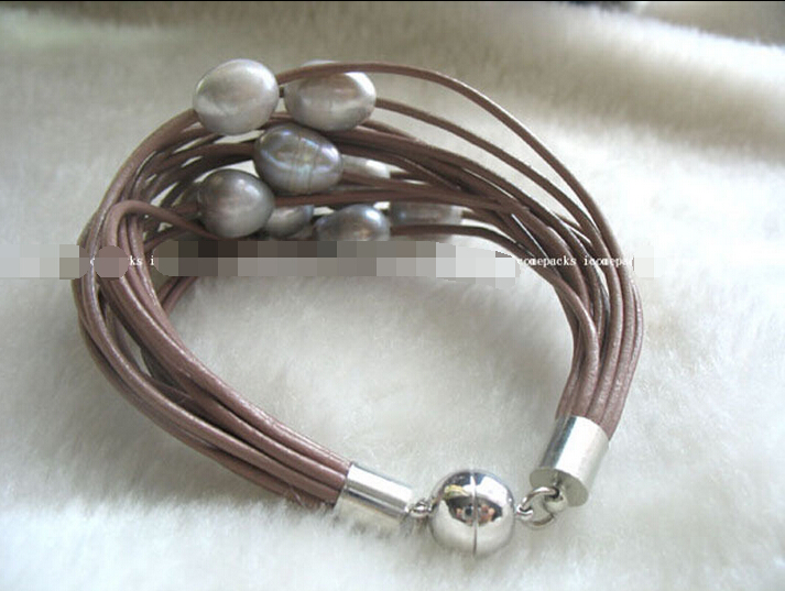 UNIQUE! 15rows 7.5″ freshwater pearl gray egg bracelet @^Noble style Natural Fine jewe SHIPPING 6.2 6.02