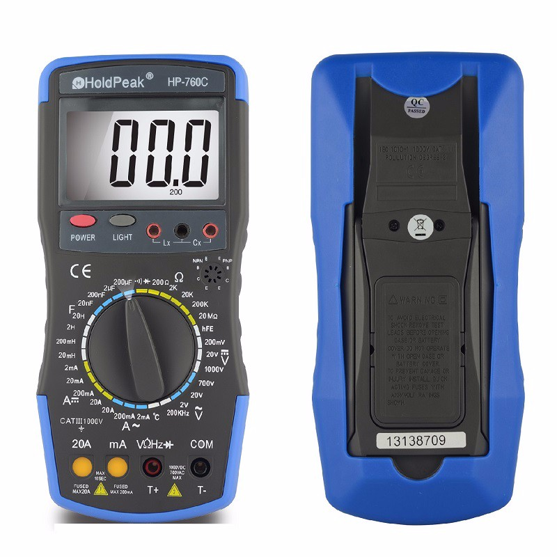 2018 Holdpeak Hp-760c 1000volt & 20ampere Digital Multimeter Meter With Frequency Inductance Capacitance Test And Carry Bag multimetro holdpeak hp 770c digital lcr multimeter meter with ncv feature and inductance frequency test