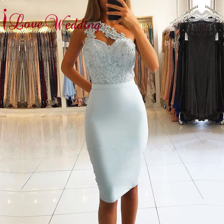 Hot New 2019 Sexy One Shoulder Sky Blue Lace Applique Beaded Custom made Straight Knee Length   Cocktail     Dresses