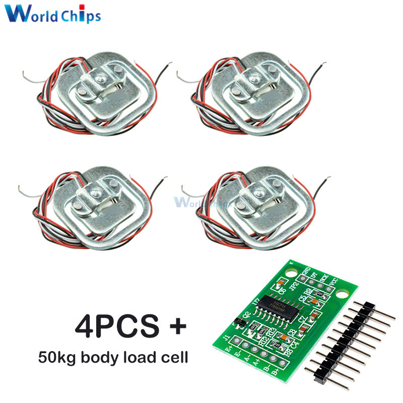 4Pcs 50kg Human Scale Load Cell Weight Sensors+HX711 AD Module Body Load Cell Weighing Sensor Pressure Sensors Measurement Tools