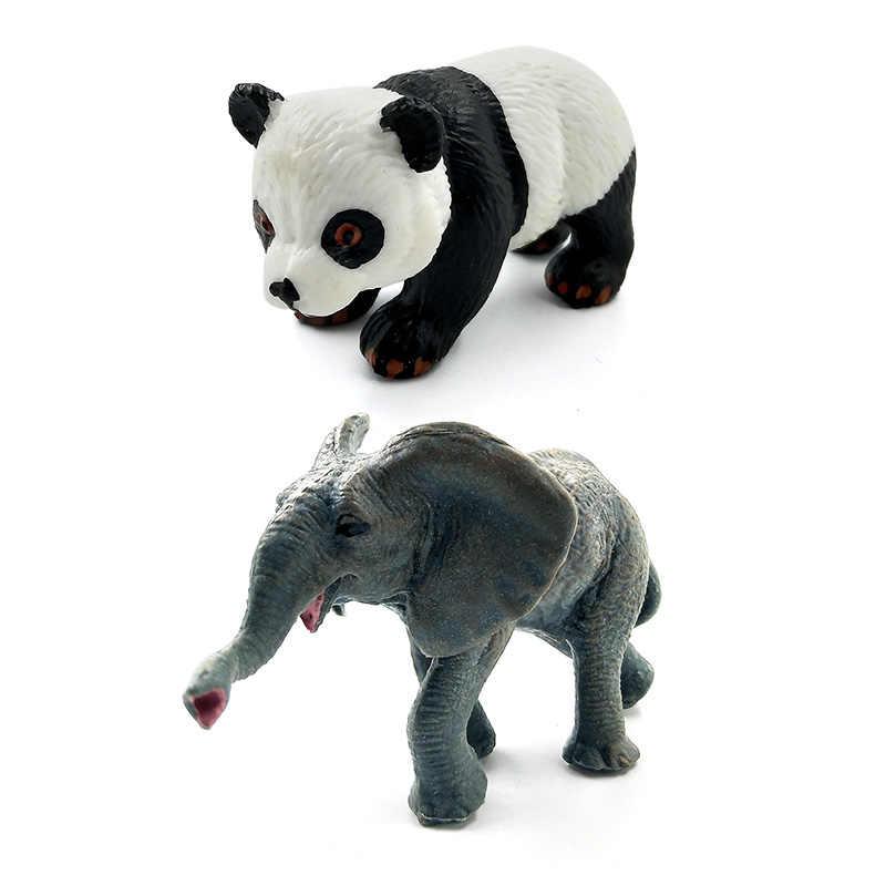 Simulação de mini Panda Elefante Canguru Guaxinim Alpaca Urso Veado Burro Gnus Modelo animal estatueta decoração de casa figura de fadas