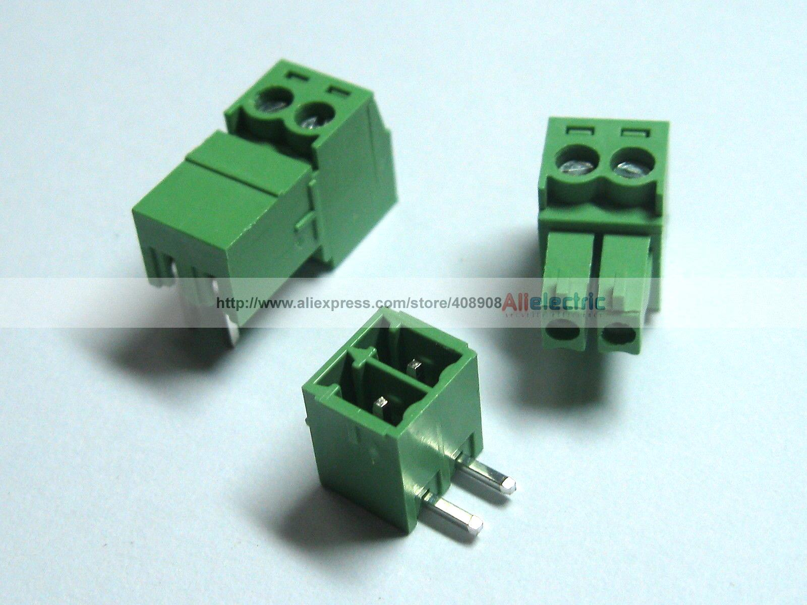 ФОТО 150 Pcs Screw Terminal Block Connector 3.81mm Angle 2 Pin Green Pluggable Type