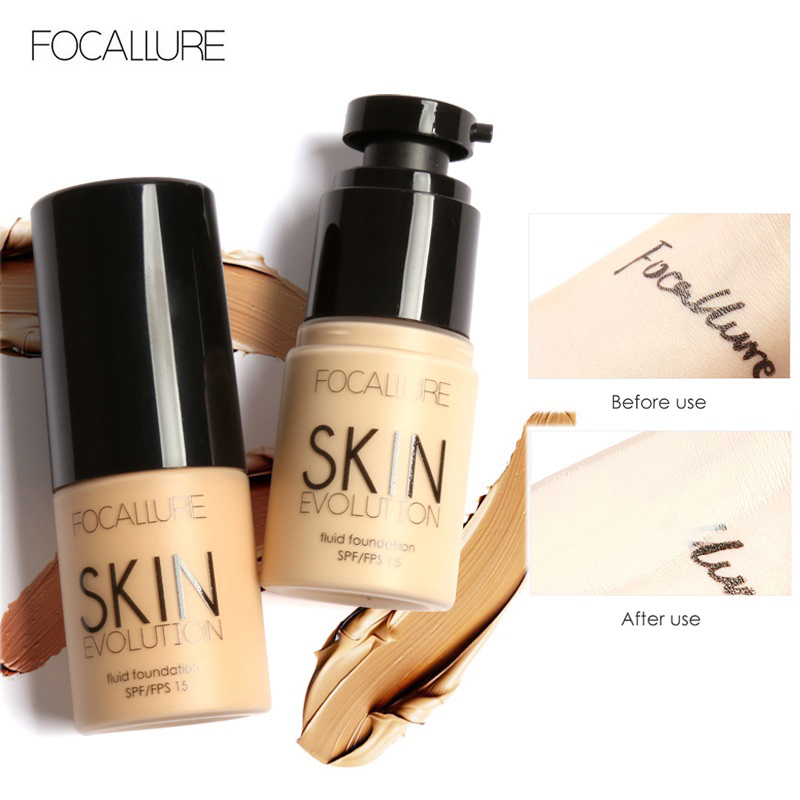 FOCALLURE Base Face Liquid Foundation Cream Full Coverage Concealer Oil-control Easy to Wear Soft Face Makeup Foundation image