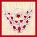 Reginababy creado Topacio simulado Rojo Granate Pendientes de gota de Plata de color Blanco Sistemas de La Joyería Para Las Mujeres Pendientes/Anillo/Collar