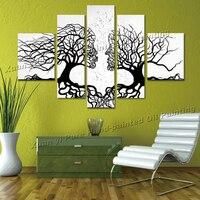 Handgemaakte 5 stuk Art sets Zwart Witte Boom Schilderen Liefhebbers moderne Abstracte Grote Muur Foto Woonkamer Thuis Decoratie