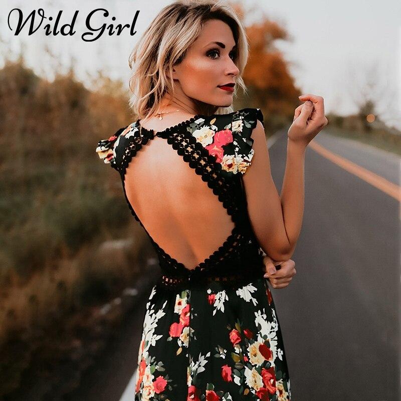 Elegant flower print lace maxi font b dress b font vestidos Sexy deep V neck backless