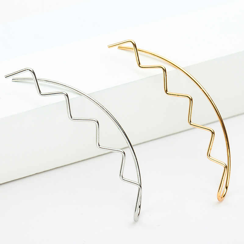 Wave Special Design Long Thin Metallic Black Silver Golden piercing Ear Cuff for Women Clip Earrings
