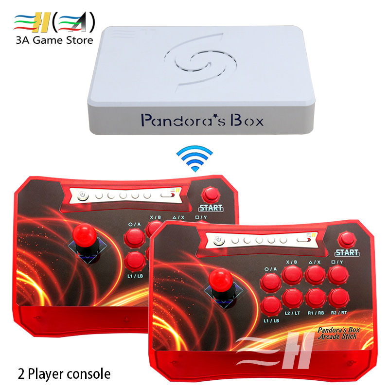 Pandora Box 6 1300 in 1 Wireless arcade game Stick controller 2 Players joystick console can add 3000 game fba mame ps1 3d game