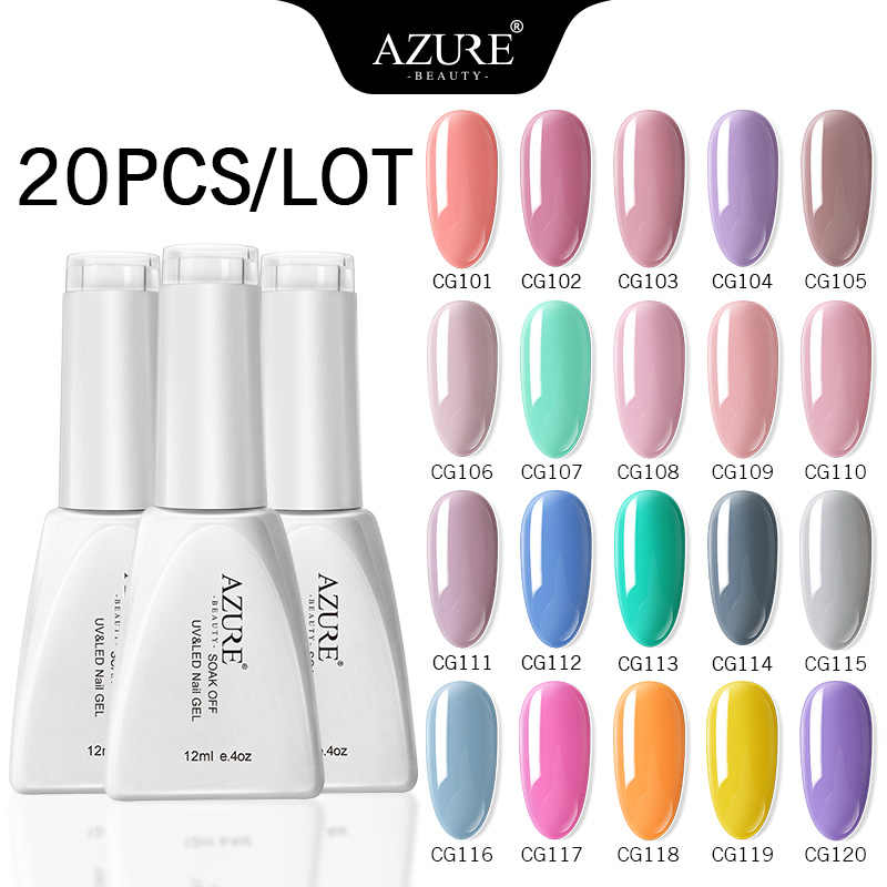 Azure Beauty UV Semi Permanen Kuku Gel Polandia Set Rendam Off Tahan Lama LED Nail Enamel Dish 5/8 /10/20 Buah Azure Kuku Gel Set