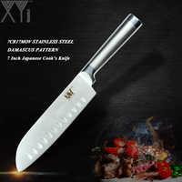 XYj estilo japonés de acero inoxidable cuchillo de cocina herramienta de corte Santoku pan cuchillo rebanador de cocinero acero de alto carbono cuchillo de cocina