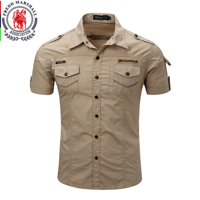 Shirt Men 2017 New Summer Men's Solid Military Short Sleeves Shirts 100% Cotton Breathable Chemise homme Loose Army Shirt