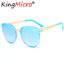 19f5b4f073 2018 nuevo lindo Ojo de Gato de los niños gafas de sol de moda de Metal  marco grande niño sombrilla, espejo, protección UV, gafa.