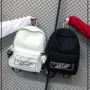 Image 1 - Keten sırt çantası Harajuku tarzı kadın sırt çantası bebek kolye omuzdan askili çanta yüksek kaliteli kız okul sırt çantası Mochila sırt çantası